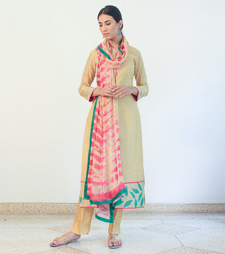 Beige Chanderi Cotton Appliqued Salwar Kameez With Dupatta