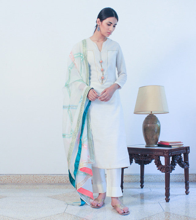 Off White Chanderi Cotton Appliqued Salwar Kameez With Dupatta