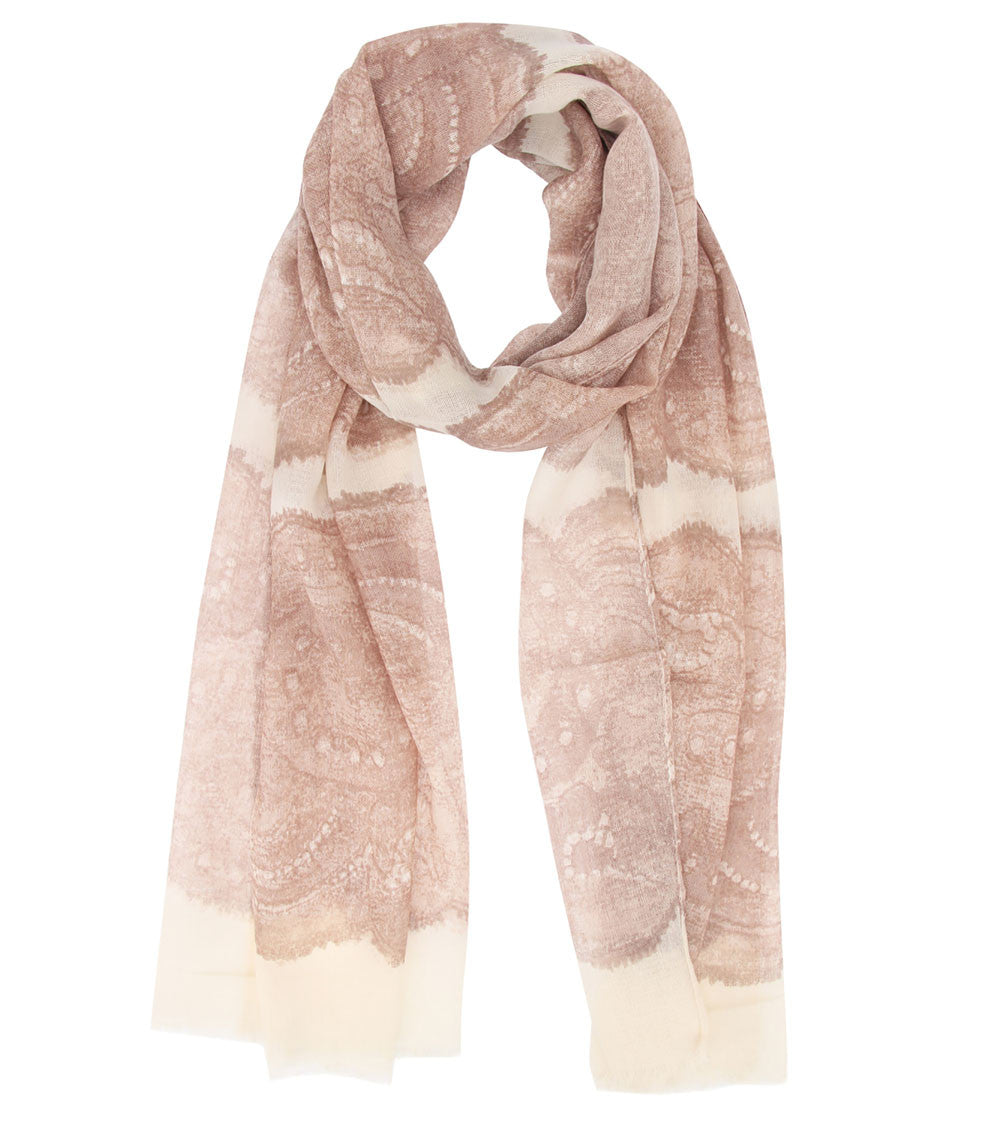 Brown & Off White Wool Digitally Printed Scarf