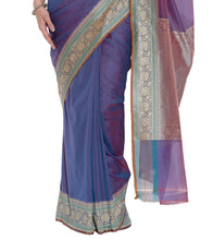 Purple Banarasi Handwoven Art Silk Saree With Blouse Piece