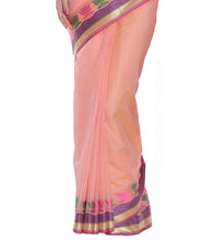 Pink Banarasi Handwoven Cotton Silk Saree With Blouse Piece