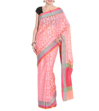 Pink Banarasi Handwoven Cotton Silk Saree With Blouse Piec