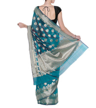 Blue Banarasi Handwoven Art Silk Saree With Blouse Piece