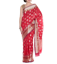 Red Banarasi Handwoven Art Silk Saree With Blouse Piece