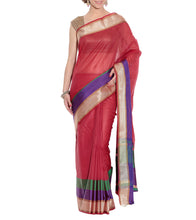 Red Banarasi Handwoven Cotton Silk Saree With Blouse Piece