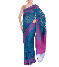 Blue Banarasi Handwoven Net Saree With Blouse Piece