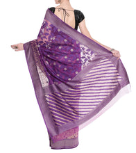 Purple Banarasi Handwoven Net Saree With Blouse Piece
