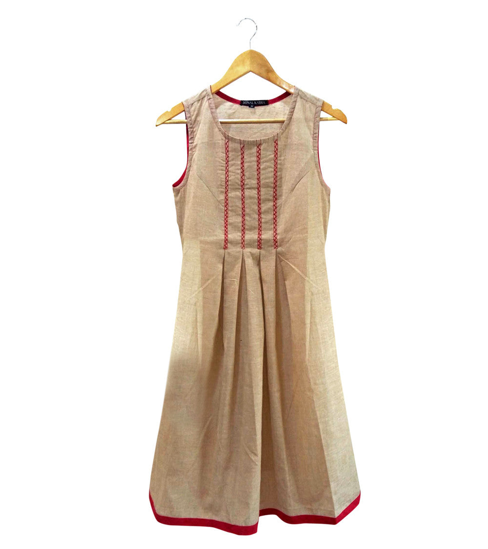Beige South Cotton Embroidered Dress