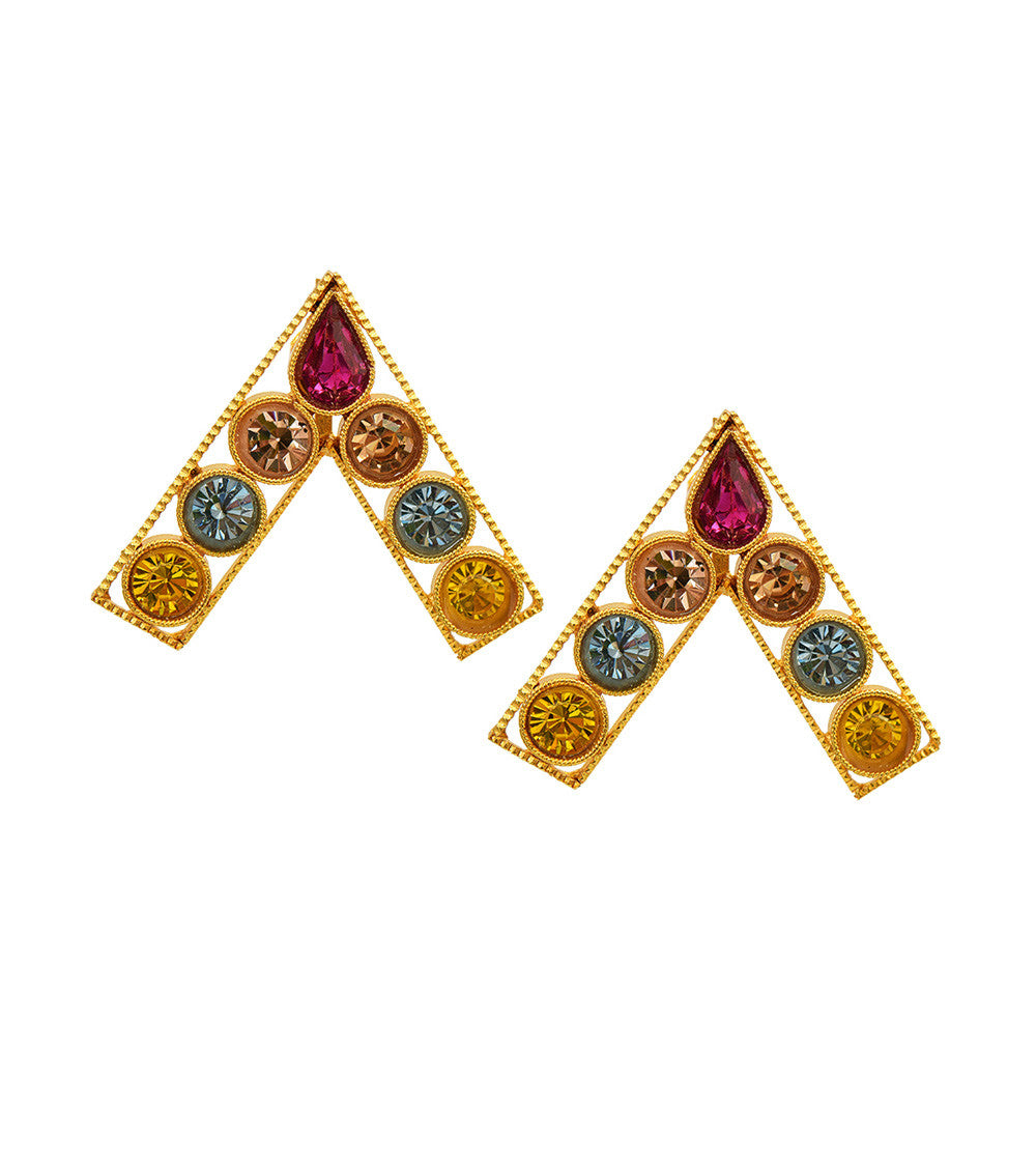 Multicoloured Brass Handmade Earrings