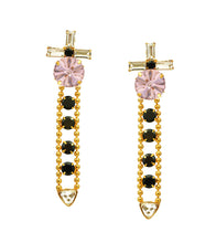 Pink, Black & Crystal Brass Handmade Earrings