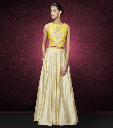 Mustard & Golden Silk Gota Patti Anika Crop Top & Skirt