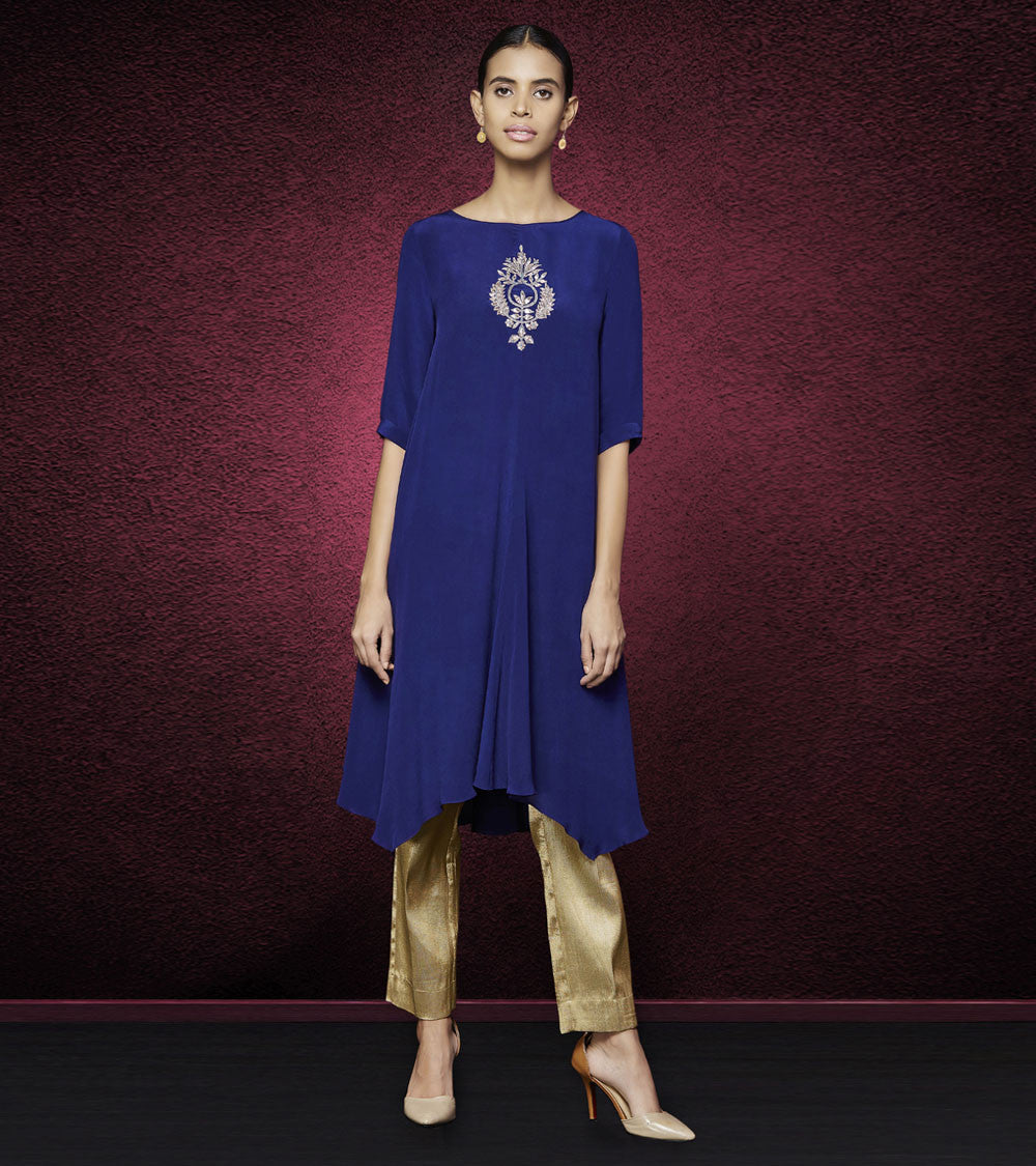 Blue Silk & Crepe Gota Patti Pallava Kurta & Pants Set