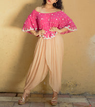 Pink & Beige Georgette Muquaish & Tube Work Cape Top & Dhoti Pants