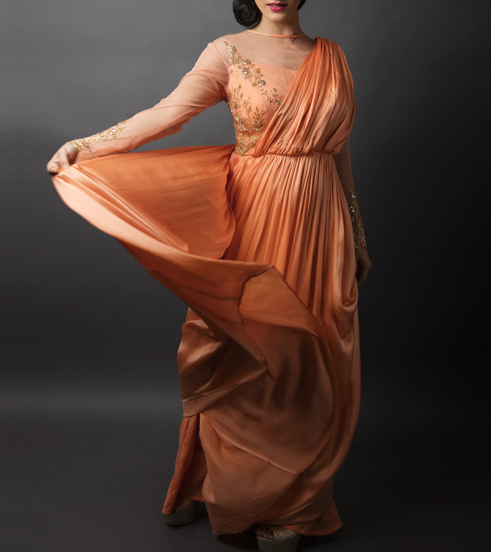 Peachy Orange Satin Muquaish Sequence And Tube Work Drape Maxi