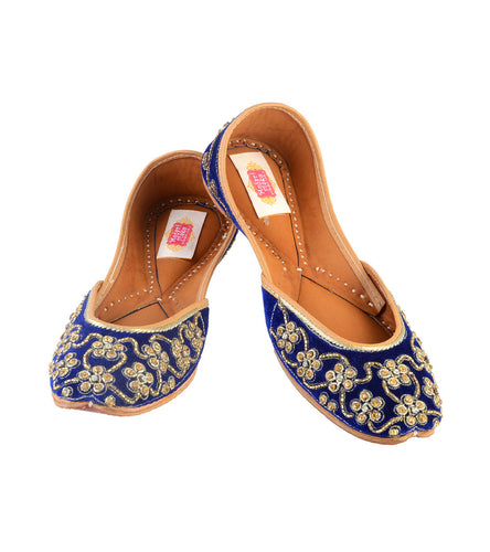 Blue Leather & Satin Hand Embroidered Jutti