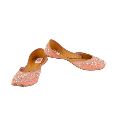 Peach Leather & Satin Kundan Embellished Jutti