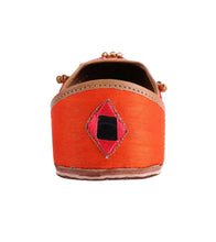 Orange Leather & Satin Mirror Work Jutti