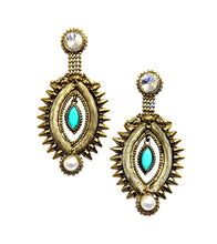 Green Brass Stone Embellished Earrings