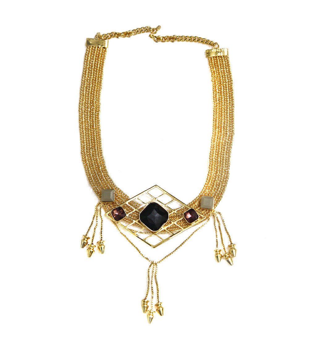 Golden Brass Stone Embellished Neckpiece