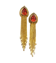 Golden Brass Stone Embellished Earrings