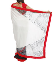 White Silk & Net Embroidered Saree with Unstitched Blouse Piece