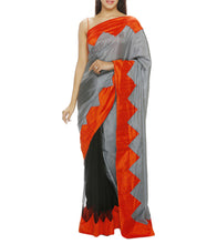 Grey Net & Silk Patch Work Saree with Unstitched Blouse Piece