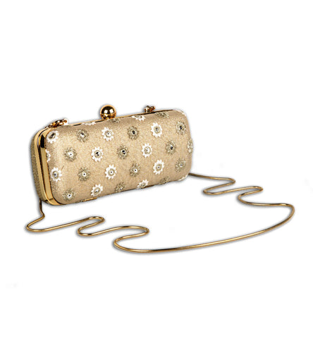 Golden Net Embroidered Clutch