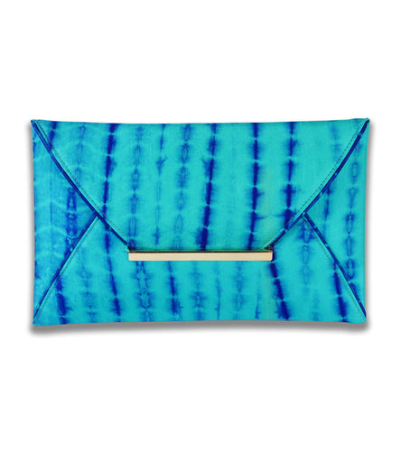 Turquoise Silk Tie Dyed Clutch
