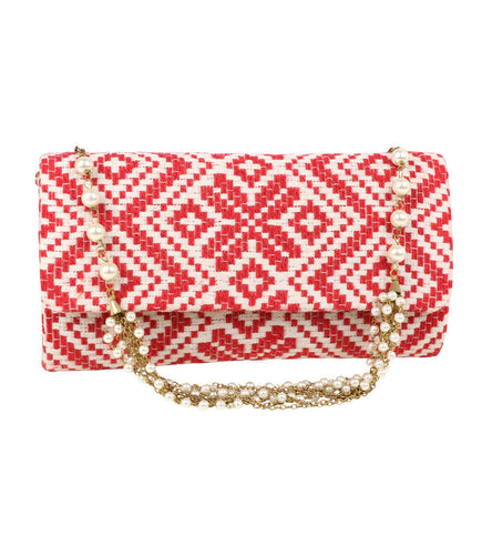 Red Cotton Clutch