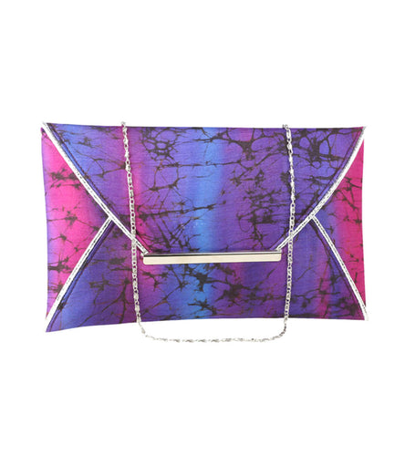 Multicoloured Silk Tie Dyed Clutch