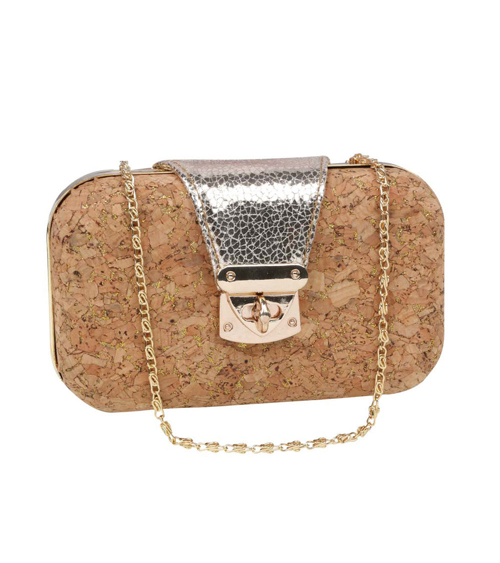 Brown PU Solid Clutch