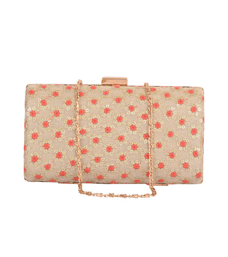 Beige Net Embroidered Clutch
