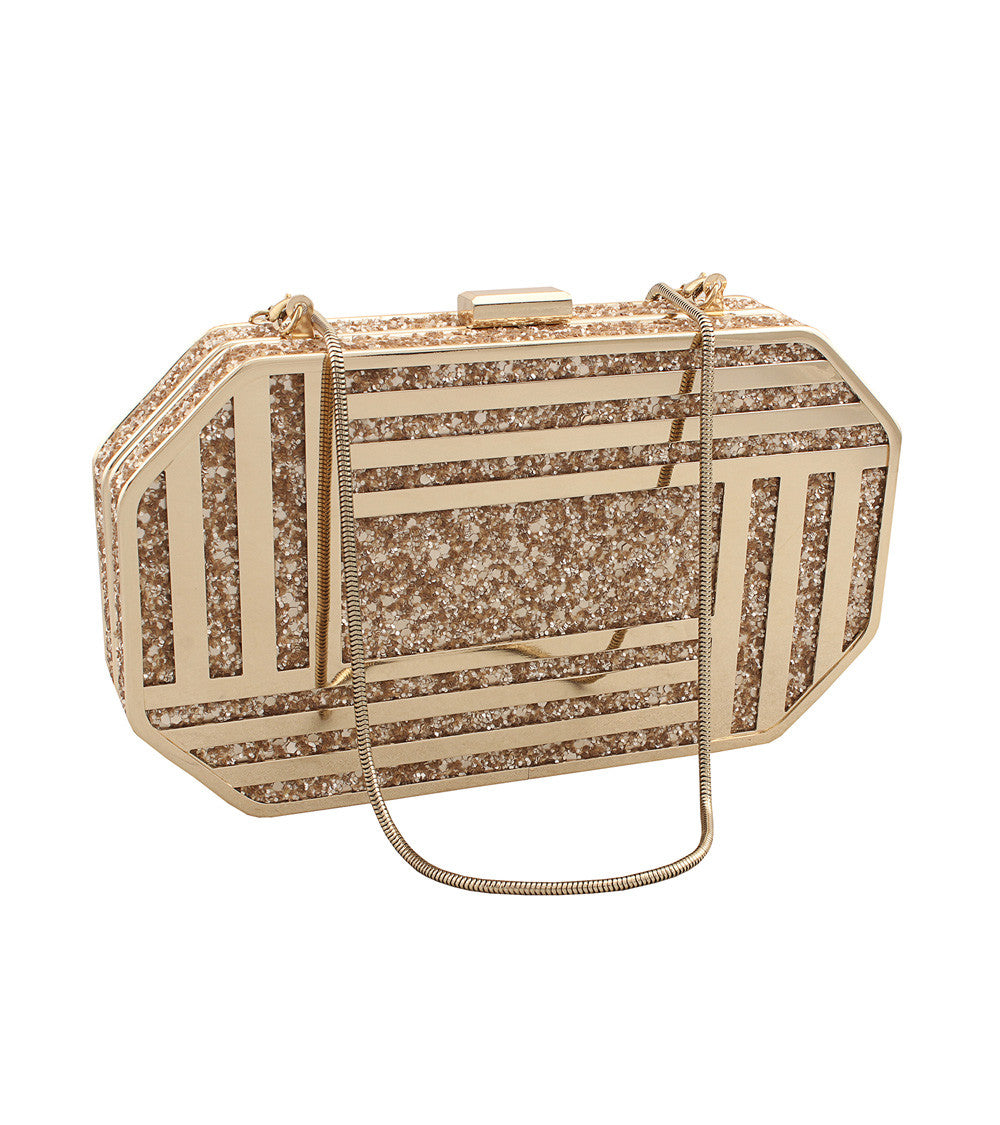 Golden Metal Metal Laser Cut Clutch