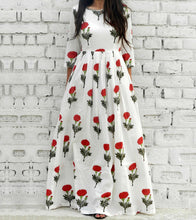 White & Red Cotton Printed Maxi