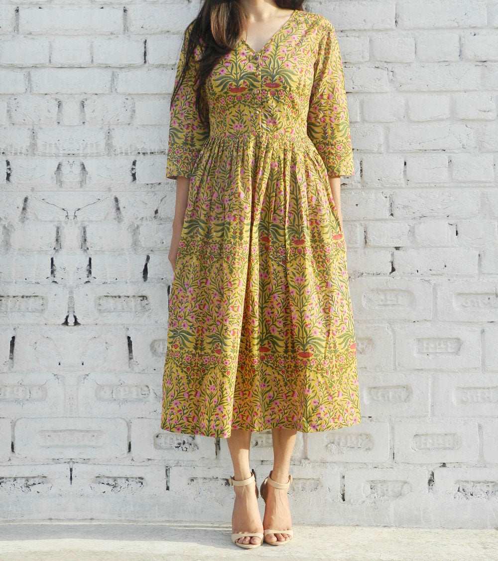 Mustard Cotton Printed Midi