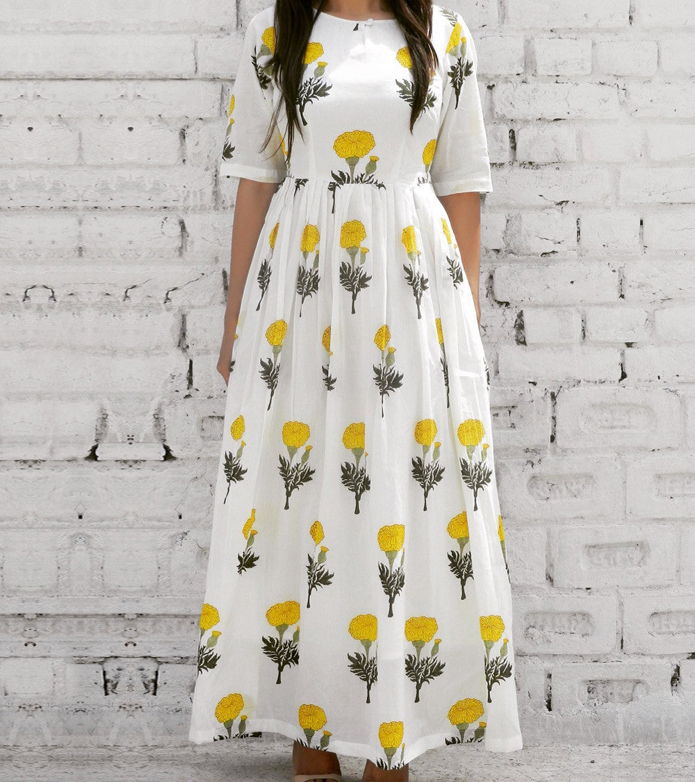 White & Yellow Cotton Printed Maxi