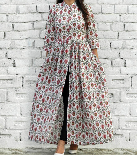Red & White Cotton Printed Cape