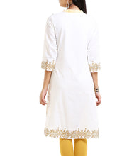 Cream Cotton Block Printed Kurti