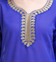 Blue Georgette Zari Embroidered Kurti