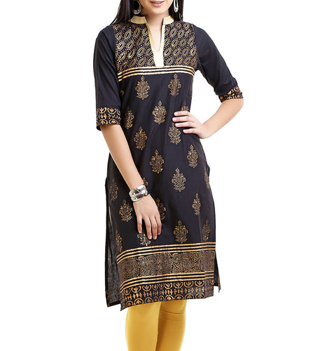 Black Cotton Block Printed Kurti