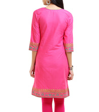 Pink Cotton Block Printed Kurti