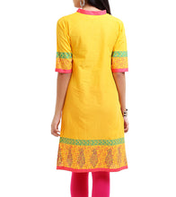 Yellow Cotton Block Printed Kurti