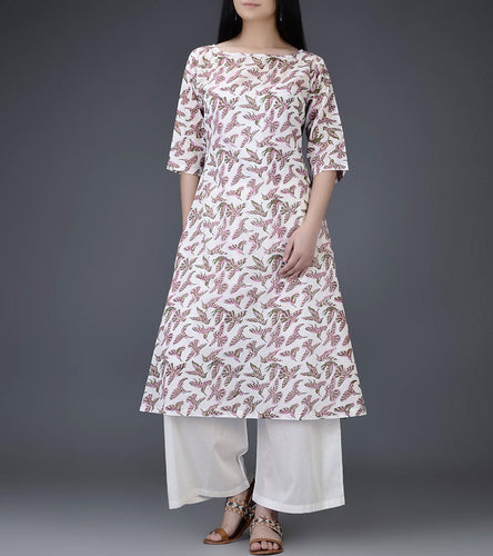 Ivory & Pink Mul & Cotton Block Printed Kurti