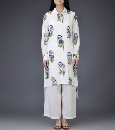 Ivory & Blue Mul & Cotton Block Printed Shirt Dress