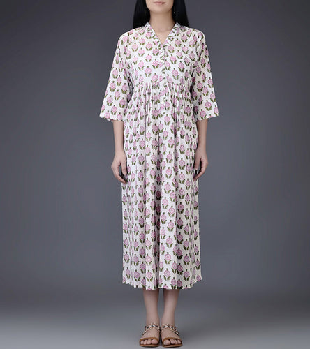 Ivory & Pink Mul & Cotton Block Printed Maxi Dress
