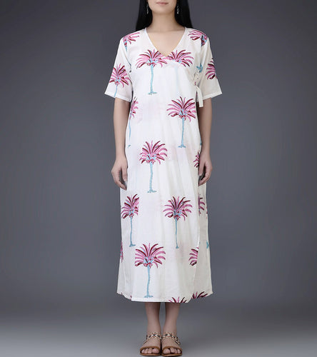 Ivory & Pink Mul & Cotton Block Printed Wrap Dress