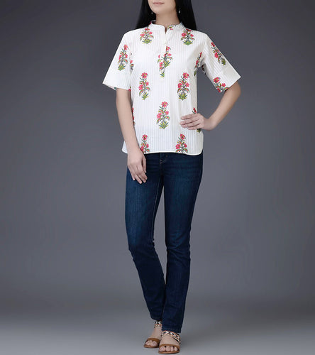 Ivory & Fuschsia Mul & Cotton Block Printed Top