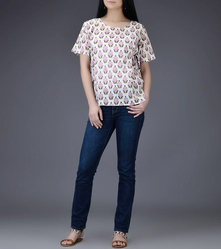Ivory & Pink Mul & Cotton Block Printed Top