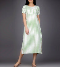 Ivory & Green Khadi Printed Dress