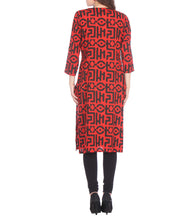 Red Cotton Block Printed Kurti